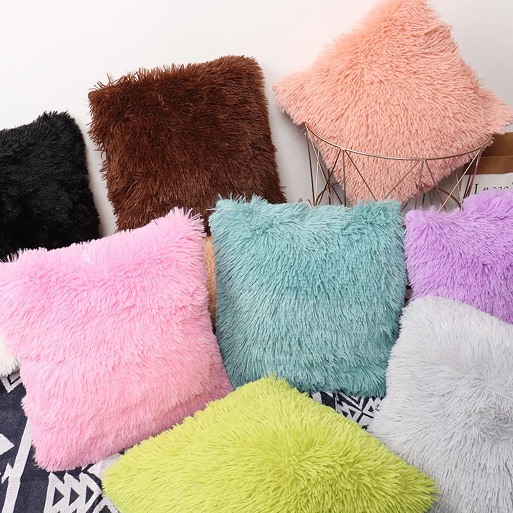 2 uds. Fundas de almohada peludas de piel sintética de felpa, fundas de cojín para silla o sofá peludas, funda de almohada para dormitorio o Hogar, funda de almohada de 40x40cm