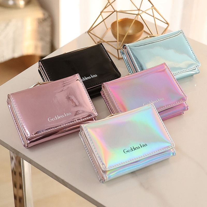 Laser Small Wallet Ladies Wallet Short 2021 Small Fresh Folding Multifunctional Change Coin Purse Cl
