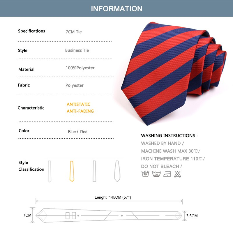 Classic 7CM Red / Blue Striped Ties Gentleman Business Ties High Quality Fashion Formal Tie For Men Business Suit Work Necktie