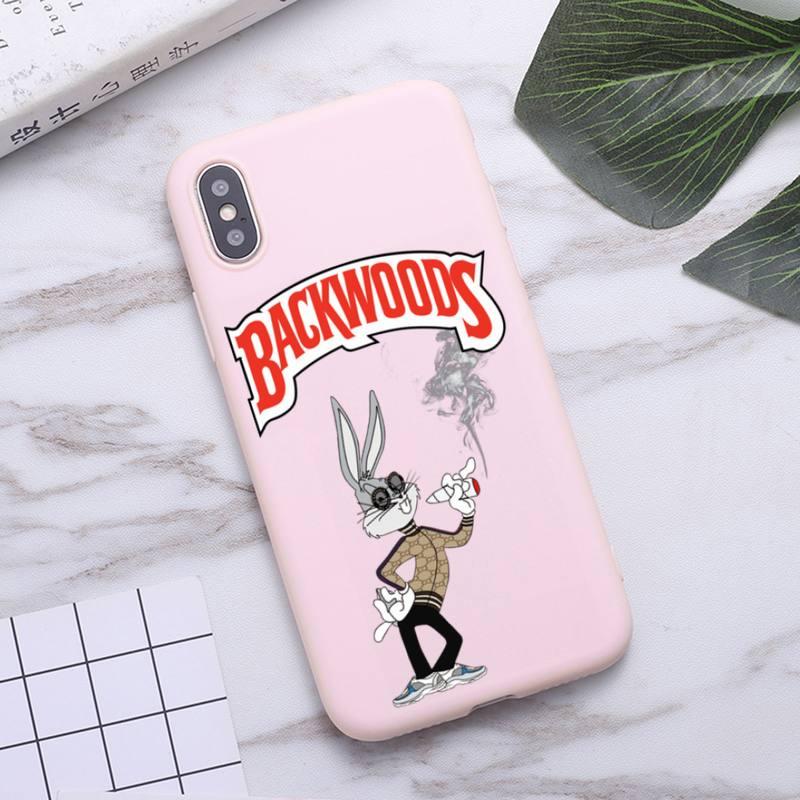 Bugs bunny weed fumar backwoods caso de telefone para iphone 11 pro max x xr xs 8 7 6s mais fosco doces rosa silicone casos
