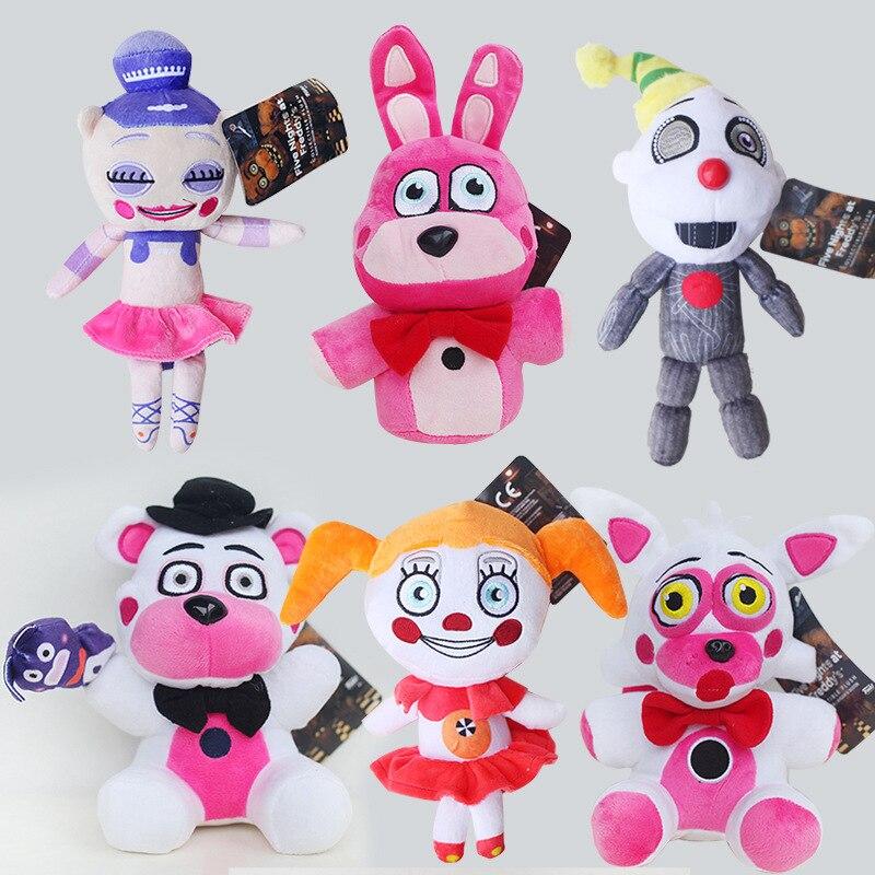 Cinco noites no freddy brinquedos de pelúcia freddy urso palhaço bonnie foxy circo bebê ballora anime peluches boneca animal hollow recheado