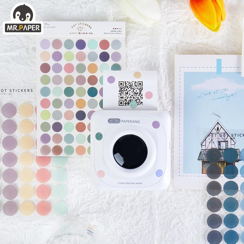 Mr. paper 6 estilos 120 pçs adesivo tempo de luz multicolorido dot deco diário washi wove adesivo scrapbooking plano decorativo papelaria