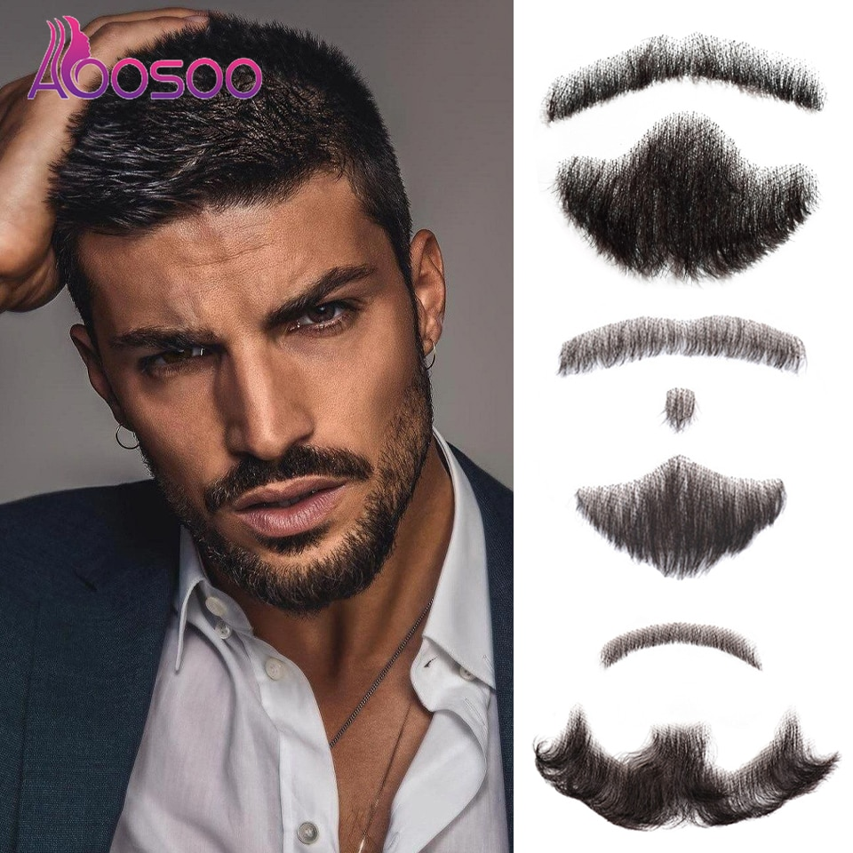 AOOSOO Fake Mustache in Daily Life Film Television Production Handmade Fake Beard Lace Man Hair Wig