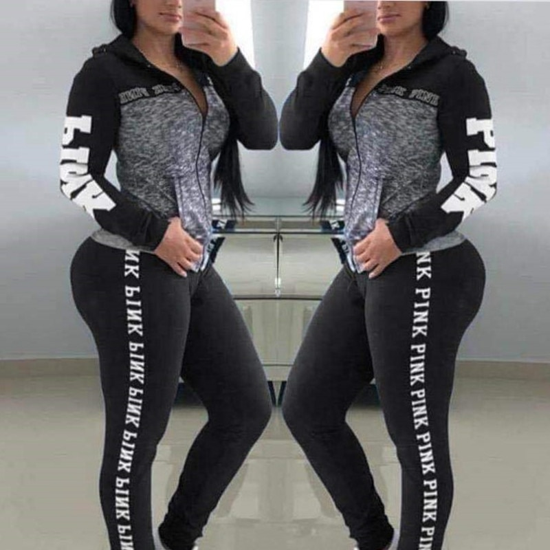 Fashion 2 PCS Set Women Tracksuit Casual Pink Letter Print Full Zipper Slim  Sweatsuit Fall Female Two Piece Outfits