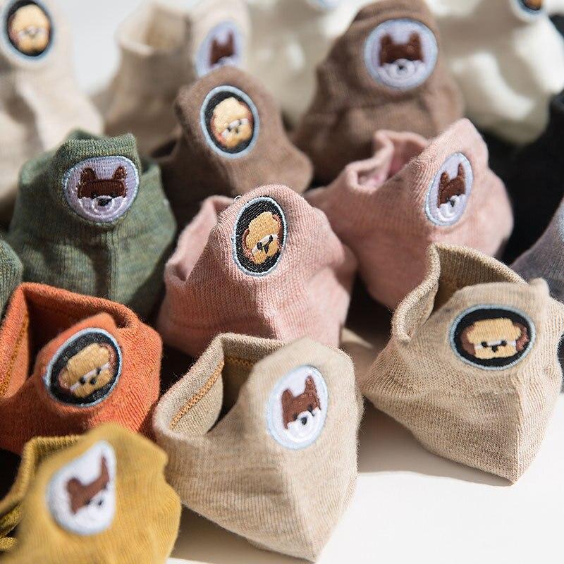 Calcetines de algodón a la moda para mujer lindo Colegio divertido tobillo feliz expresión caramelo Color Kawaii Animal perro bordado invierno AB Calcetines