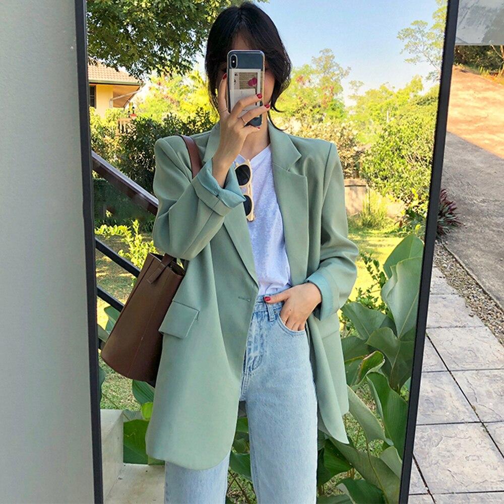 بدلة فضفاضة غير رسمية للنساء ، مجموعة خريف جديدة 2020 ، سترة ، معطف أخضر ، ملابس كورية