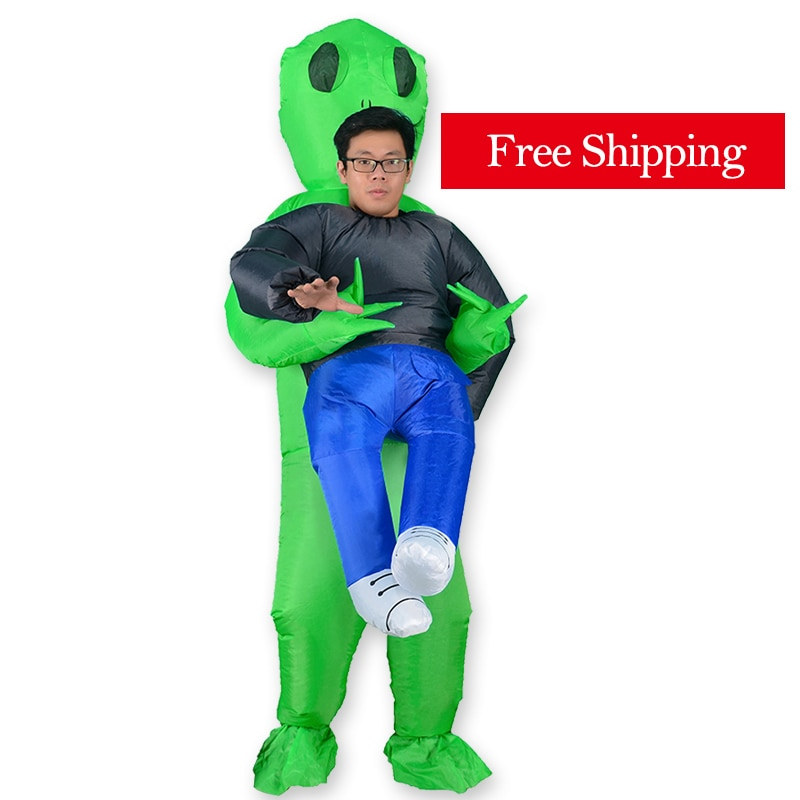 Alien Inflatable Costume Mascot Green Adult Anime Cosplay For Man Women Halloween Carrying Human
