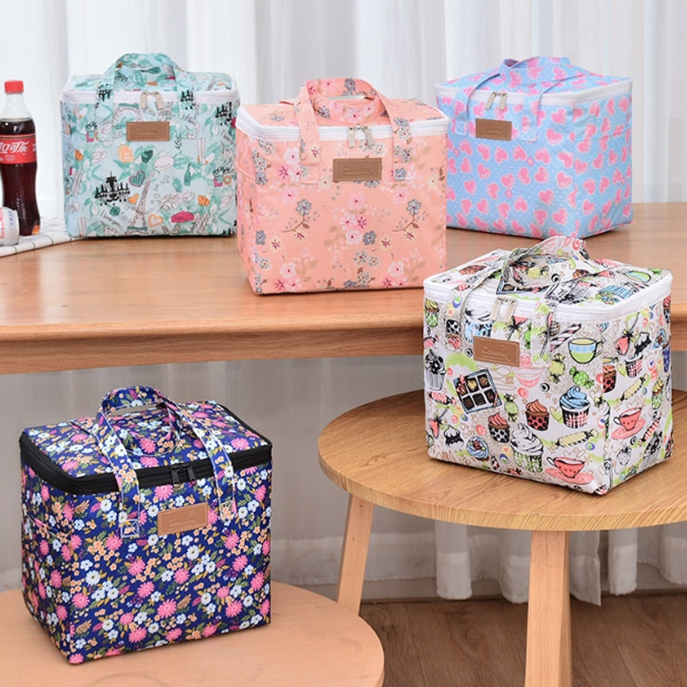 Portable lunch bag thermal insulation ice bag picnic food storage bag shoulder lunch box tote bag travel picnic tote bag
