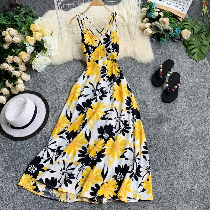 Ftlzz nova mulher floral impressão maxi vestido sexy com decote em v sem costas vestidos longos feminino elegante boêmio vestido de praia