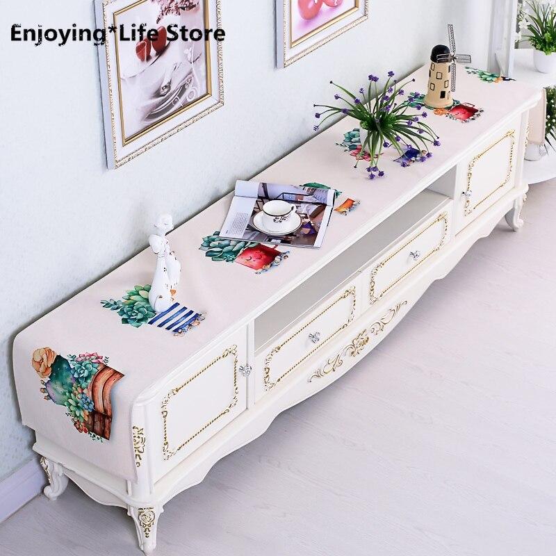 الشمال القطن الكتان الجدول عداء النبات فلامنغو الطباعة الجدول عداء الزفاف مستطيلة غطاء الطاولة خزانة القماش