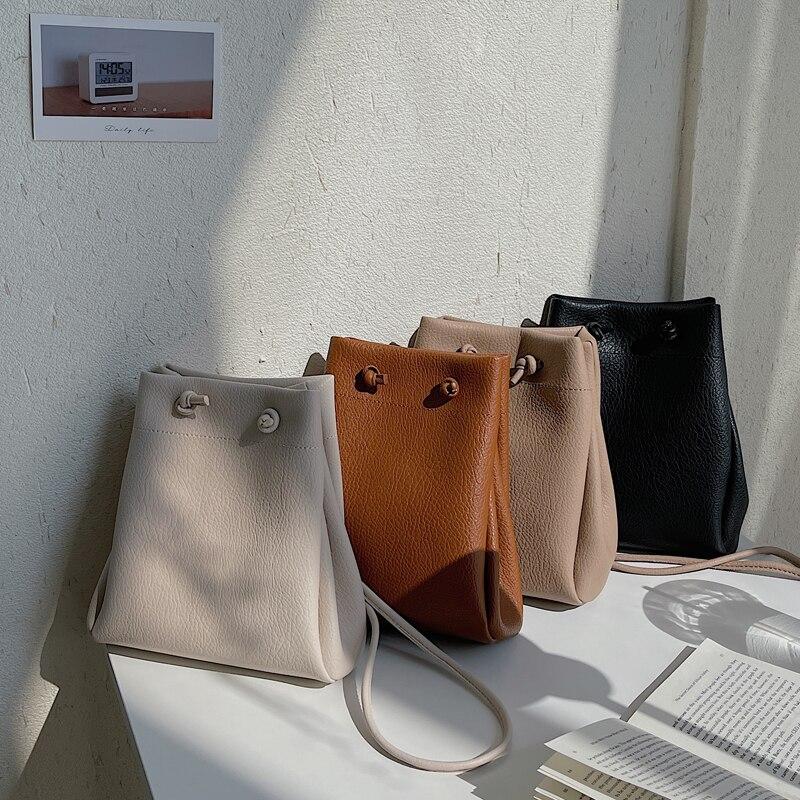 2021 New Small Women's Bag Youth Drawstring Bucket Bag Female Handbags Japan PU Leather Lady Shoulder Crossbody Bag Whole Sale