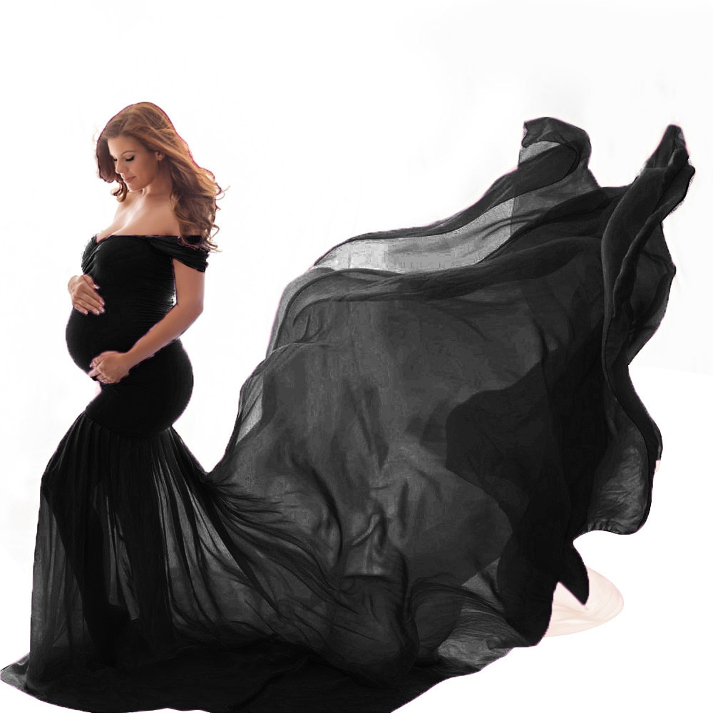 Summer Maternity Tulle Long Dresses Baby Shower Cotton Dress Stretchy Pregnancy Photography Dress With Cape Long Train 2021 enlarge