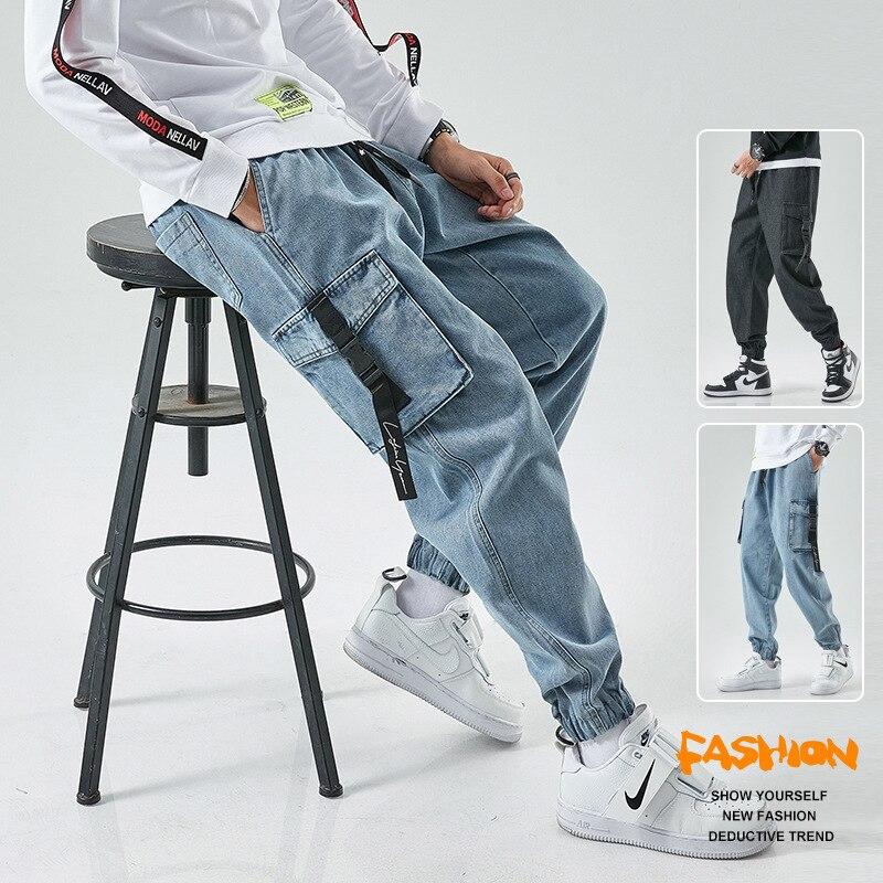 Мужские длинные джинсовые брюки с большими карманами, уличная одежда в Корейском стиле, повседневные бриджи, мужские спортивные бриджи в ст...