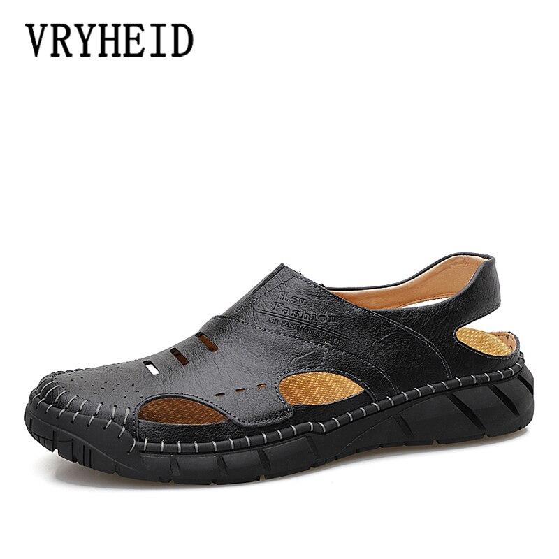VRYHEID Big Size 38-50 Men Cow Leather Sandals Outdoor 2020 Summer Handmade Men Shoes Breathable Casual Footwear Walking Sandals