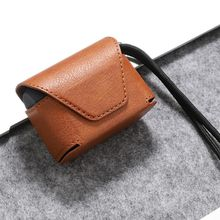 Fashion Leather Case Full Storage Bag Box with Strap for Jabra Elite Active 65t Headset 6x5x3cm