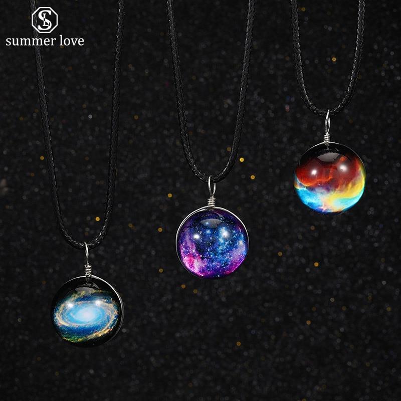 Único universo estrelado bola de vidro charme pingente colar gargantilha corda preta corrente colar feminino personalizado jóias amigos presentes