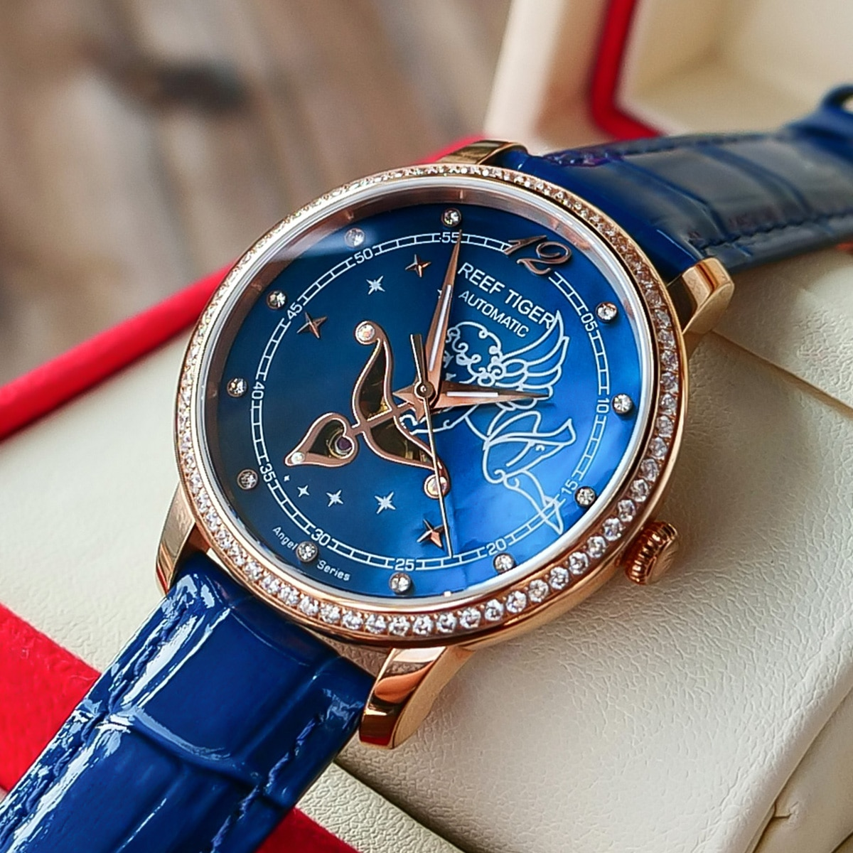 New Reef Tiger/RT Fashion Womens Watches Blue Dial Rose Gold Watches for Lover Diamonds Ladies Watches Relogio Feminino RGA1550 enlarge