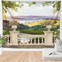 beautiful nature art tapestry wall hanging aesthetic scenery outside the window palace bohemian decor room decoration wall cloth