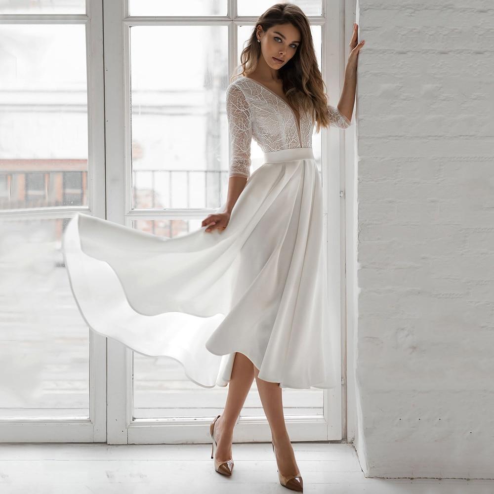 فستان سهرة أنيق على شكل حرف a على شكل حرف v بطول الشاي 2021 ثلاثة أرباع كم سحاب خلفي مناسبة خاصة