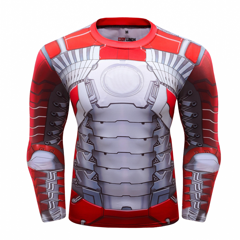 Iron Man 2019 GYM shirt sports T-shirt men Rashgard quick-drying running T-shirt men fitness T-shirt stretch sports