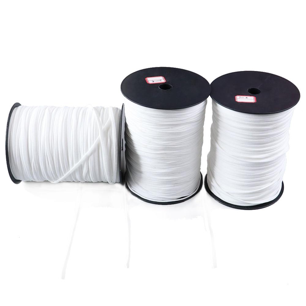 Máscaras de banda de goma de 3/5mm, bandas elásticas blancas de alta elasticidad, banda de cintura plana, cuerda de costura para prendas de vestir, máscara DIY, 10/20/50 metros