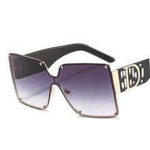 Unisex Fashion New Ladies Square Sunglasses Women Goggle Shade Vintage Brand Designer Oversize Sun G