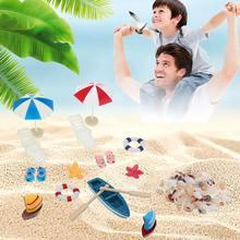 13 pièces maison de poupée pliante Mini plage salon parapluie chaise bateau ancre ensemble maison de poupée Miniature maison jardin décor meubles