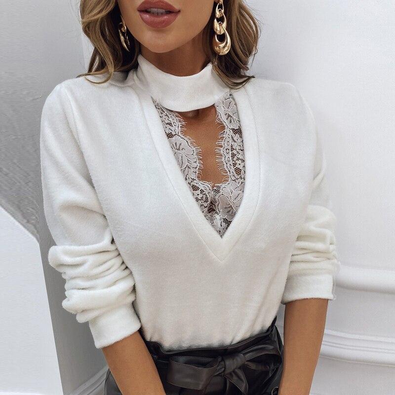 Retro 2021 Vrouwen Plus Size Shirts Sexy V-hals Effen Kleur Kleding Lady Casual Oversized Lange Mouwen Blouse Fashion Office Tops