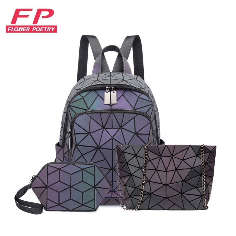 women backpack geometric luminous bags schoolbag for teenage girl crossbody bag for ladies holograph