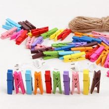 Petits Clips en bois colorés 3.5cm   Bricolage, décoration artisanale de fête, petites pinces mignonnes pour mémo en papier, marque-page Clips Photo, 20-80 pièces