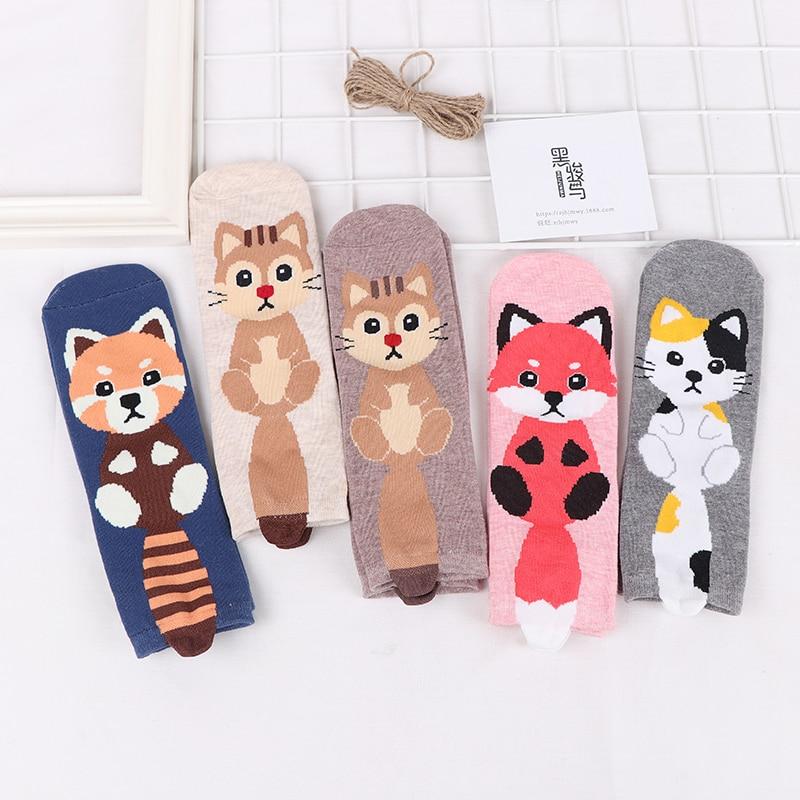 1PCS Socks Women Cute Harajuku Animal Series Socks Cartoon Printed Cotton Long Socks Cat Fox Sock Pink Design with Tail Socks