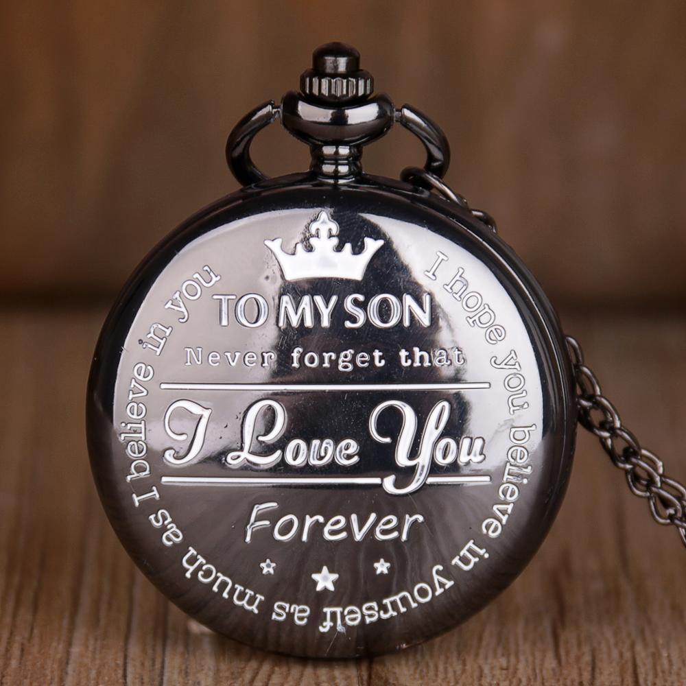 Reloj de bolsillo para MY SON, reloj de bolsillo de cuarzo Retro Steampunk con patrón personalizado, reloj de bolsillo con números romanos, reloj de bolsillo para regalo para niños