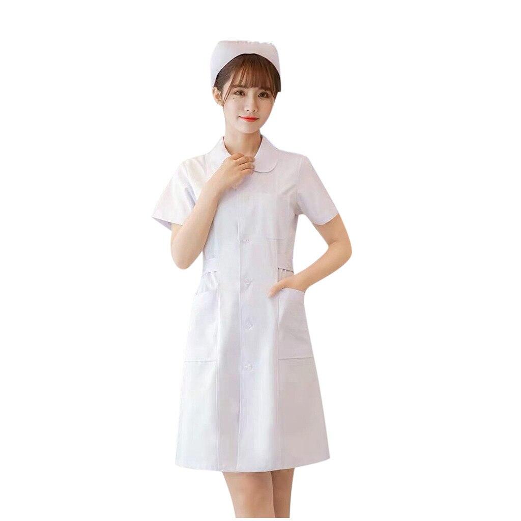 Women Scrubs Dress Button Front Healthcare Tunic Maid Nurses Carers Therapist Uniform Pet Shop Beauty Salon Workwear A20