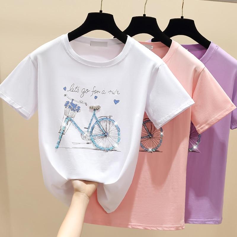 gkfnmt Beading Print Pink T Shirt Summer Short Sleeve Women Top White Tshirt Cotton Korean Style T-shirt Women Clothes