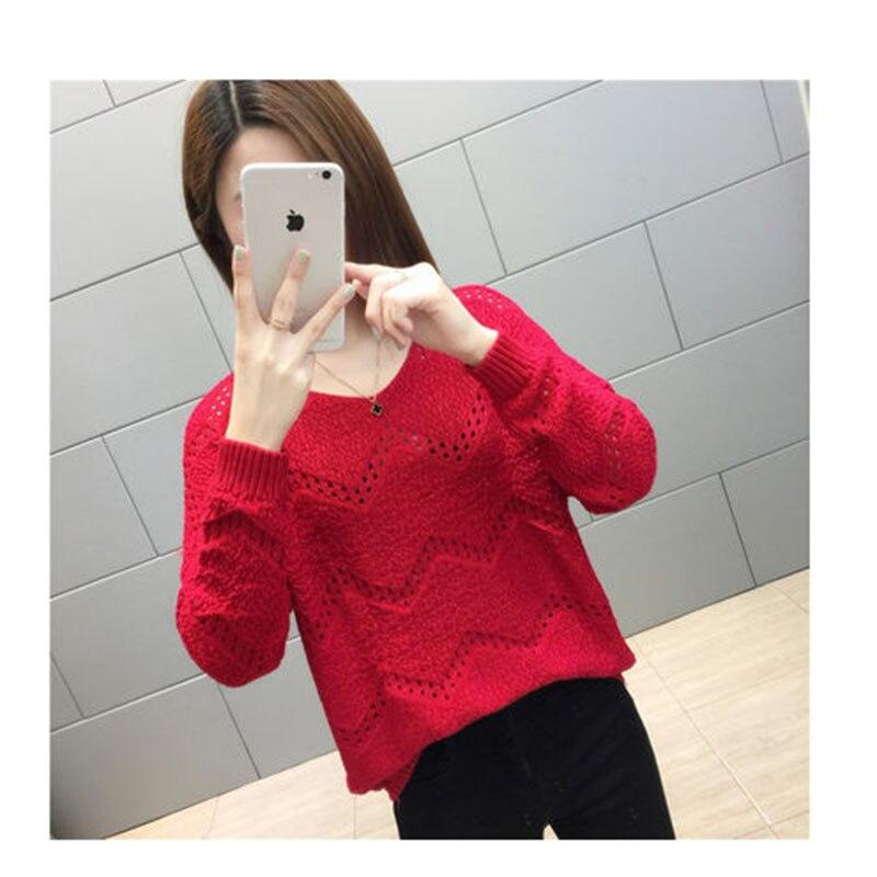 Primavera otoño suéter cuello en V openwork pullover Mujer sección delgada casual suelta de manga larga salvaje temperamento suéteres barato D270