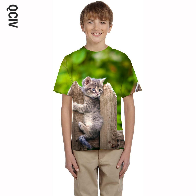 QCIV, футболка с котом, Детская футболка с принтом животных, новые футболки, 3d психоделические футболки, повседневные футболки с коротким рука...