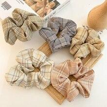 Coloful Korean Plaid Scrunchie Elastic Hair Rubber Bands for Women Girl Holiday Headwear Ponytail Hair Accessories