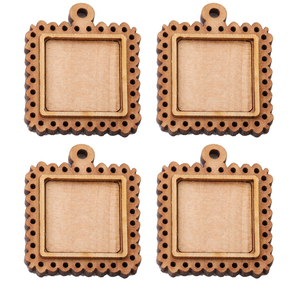 5pcs Lot Wood Frame Cabochon Base 20mm 30mm Dia Square Wooden Cameo Settings Diy Pendant Bezel Trays Crafts Jewelry Findings