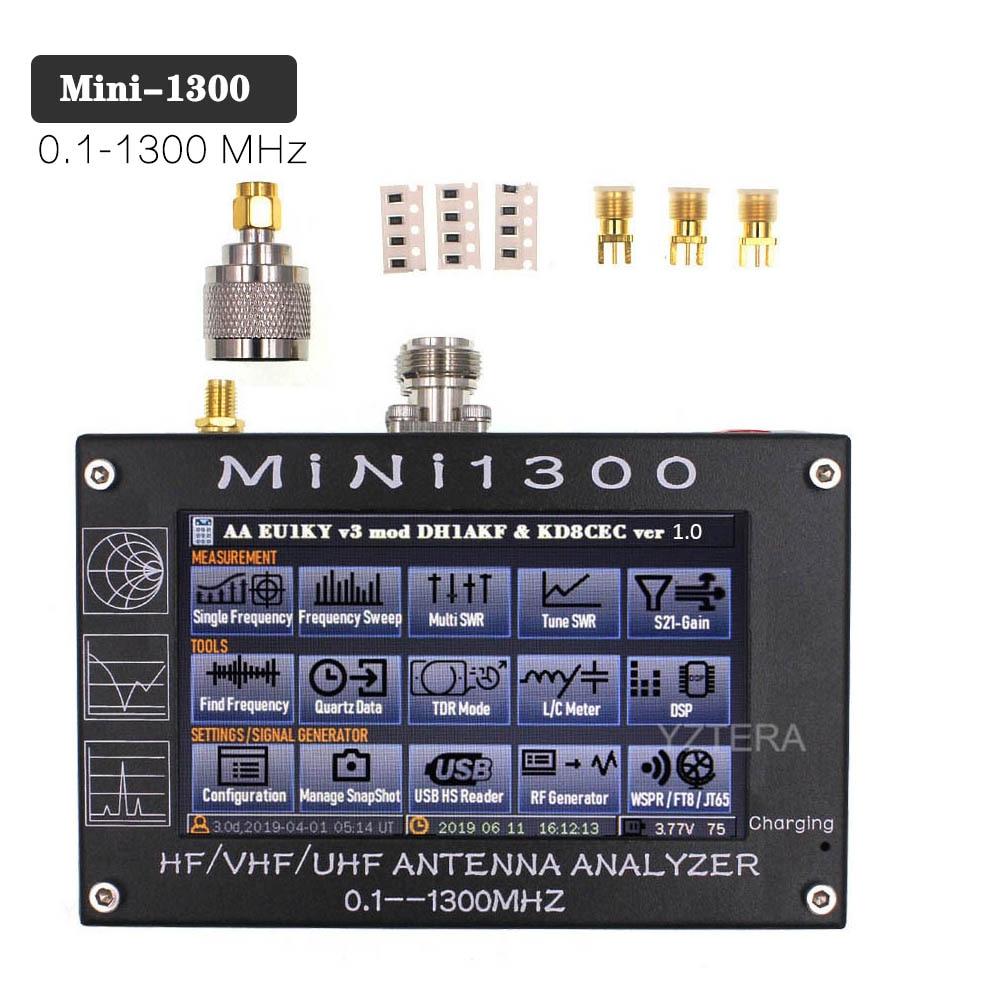 شاشة Mini1300 LCD تعمل باللمس 4.3 بوصة, 0.1-1300 ميجا هرتز ، HF/VHF/UHF ANT SWR ، محلل هوائي ، مقياس