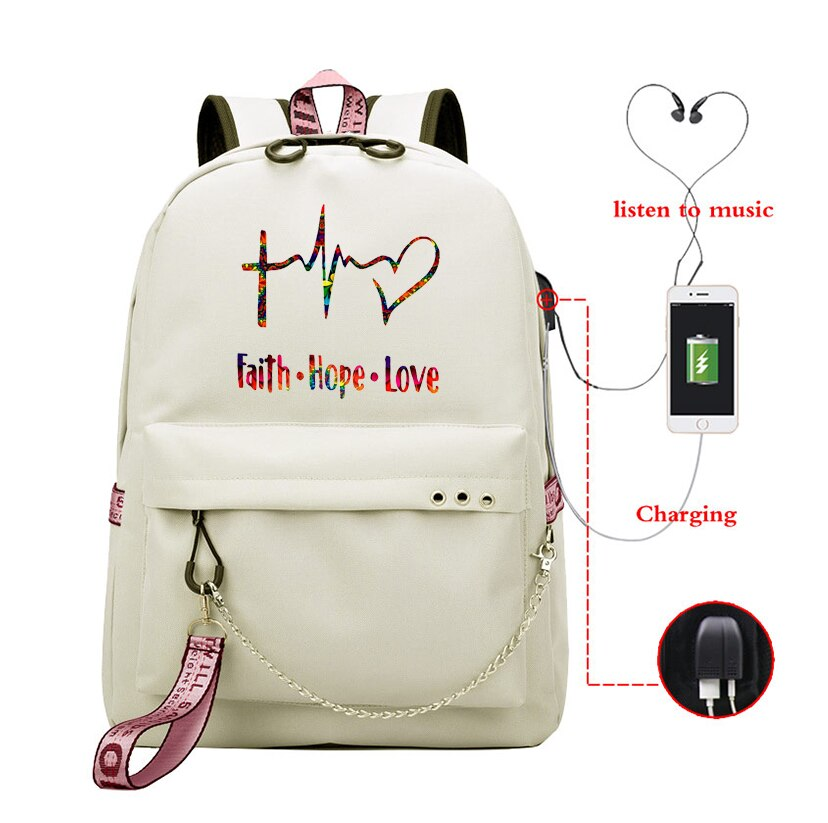 Mochila De moda Faith Hope Love, bolsas de viaje de lona, mochila escolar para niñas, mochila de gran capacidad Vintage para mujeres, mochila con puerto de interfaz Usb