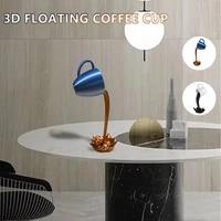 3d resin coffee cup floating splashing coffee cup sculpture kitchen decoration magic splashing creative desktop home decoration