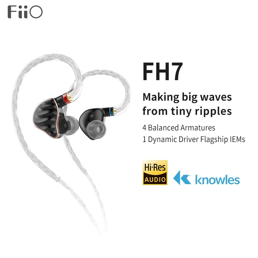 FiiO FH7 HiFi In-سماعة/سماعة رأس Hi-Res 4BA + 1DD 13.6 مللي متر سائق ديناميكي 8 مجدولة أحادي البللورات مطلي بالفضة نحاس MMCX