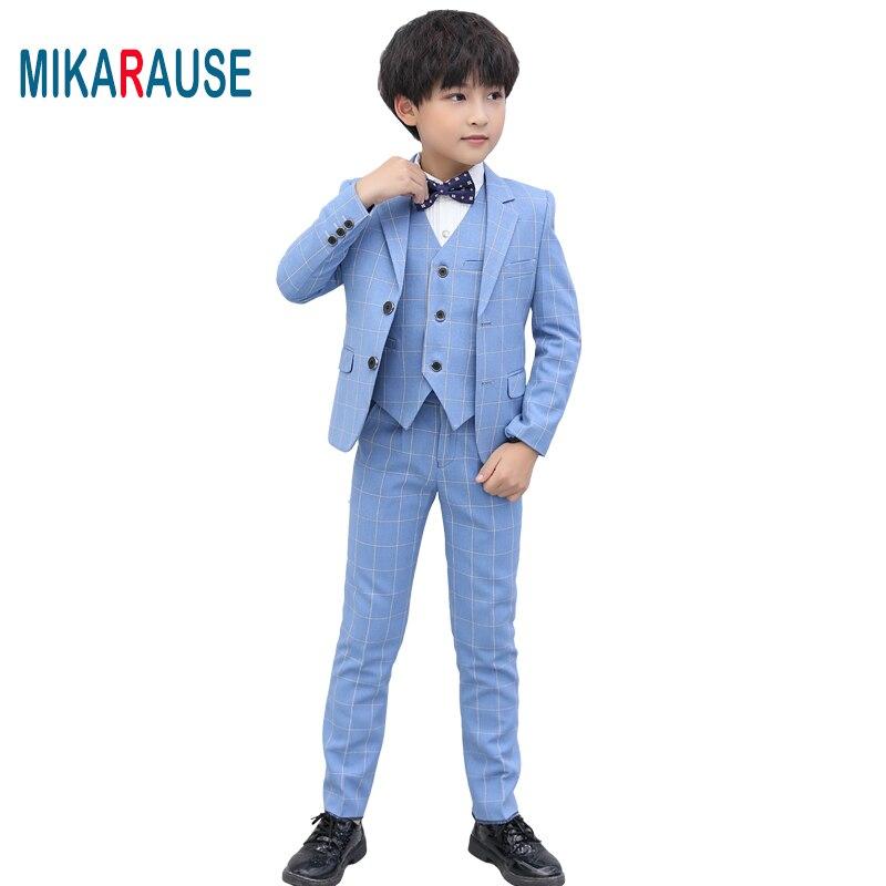 Mikarage-بدلة كاروهات زرقاء للأطفال ، ملابس سهرة رسمية عالية الجودة ، بدلة بليزر للأطفال enfant garcon mariage