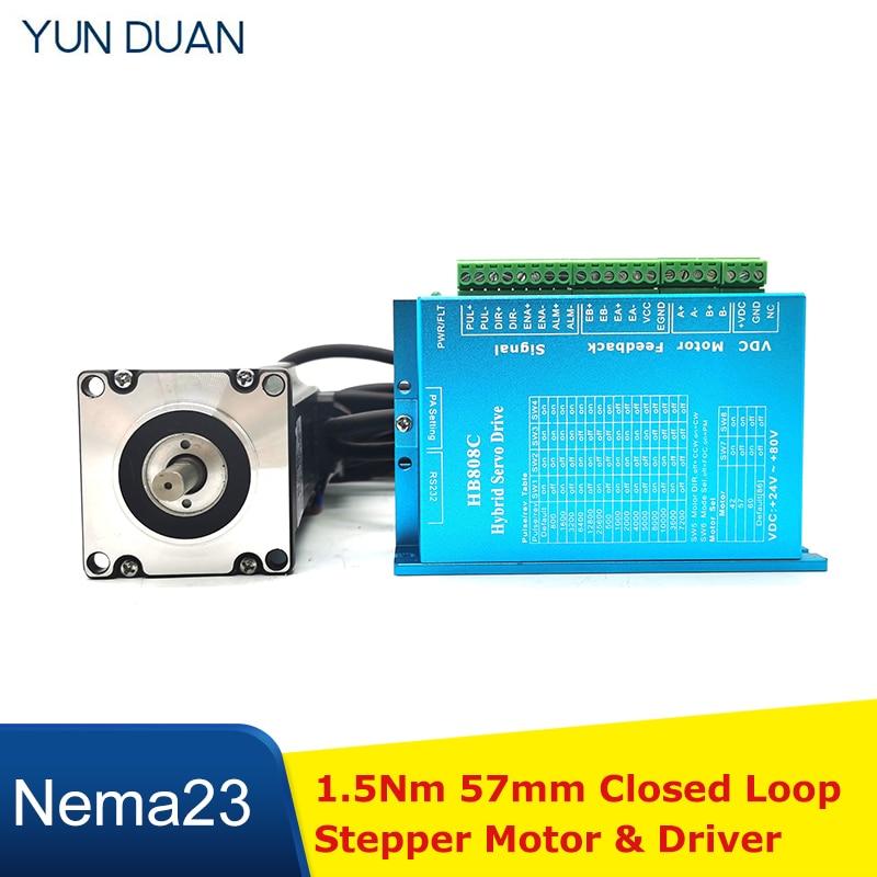محرك متدرج مع حلقة مغلقة 1.5 نانومتر ، Nema23 ، محرك 57 مللي متر DC ، مجموعات كبلات 3M ، جهاز تشفير Hybird Easy Step Servo