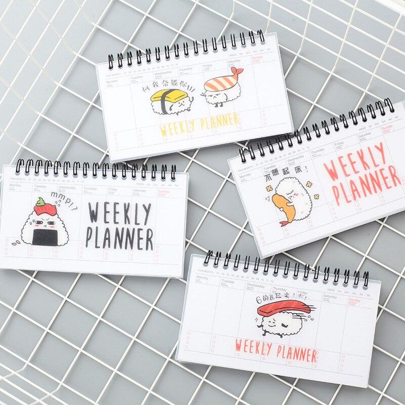 Cuaderno planificador semanal portátil, Agenda Kawaii Sushi A6, suministros escolares mensuales, organizador...