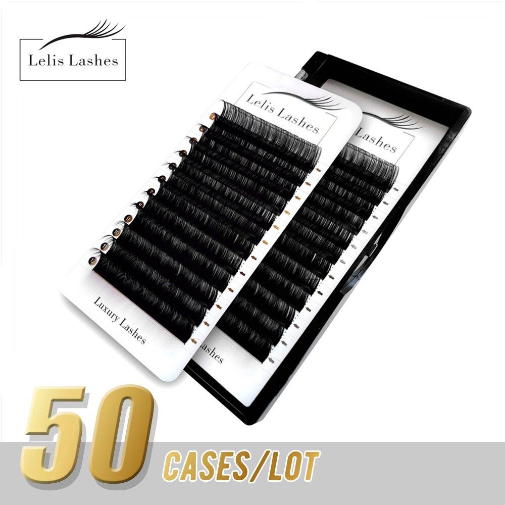 Lelislashes 50 حالات 8 ~ 16 مللي متر مزيج رموش طبيعية ملحقات فو المنك الفردية كاذبة جلدة ماكياج أهداب المهنية