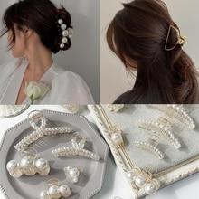 1 pc differen estilo coreano mulheres meninas garras de cabelo moda elegante pérolas grampo de cabelo transparente liga acessórios para o cabelo headwear