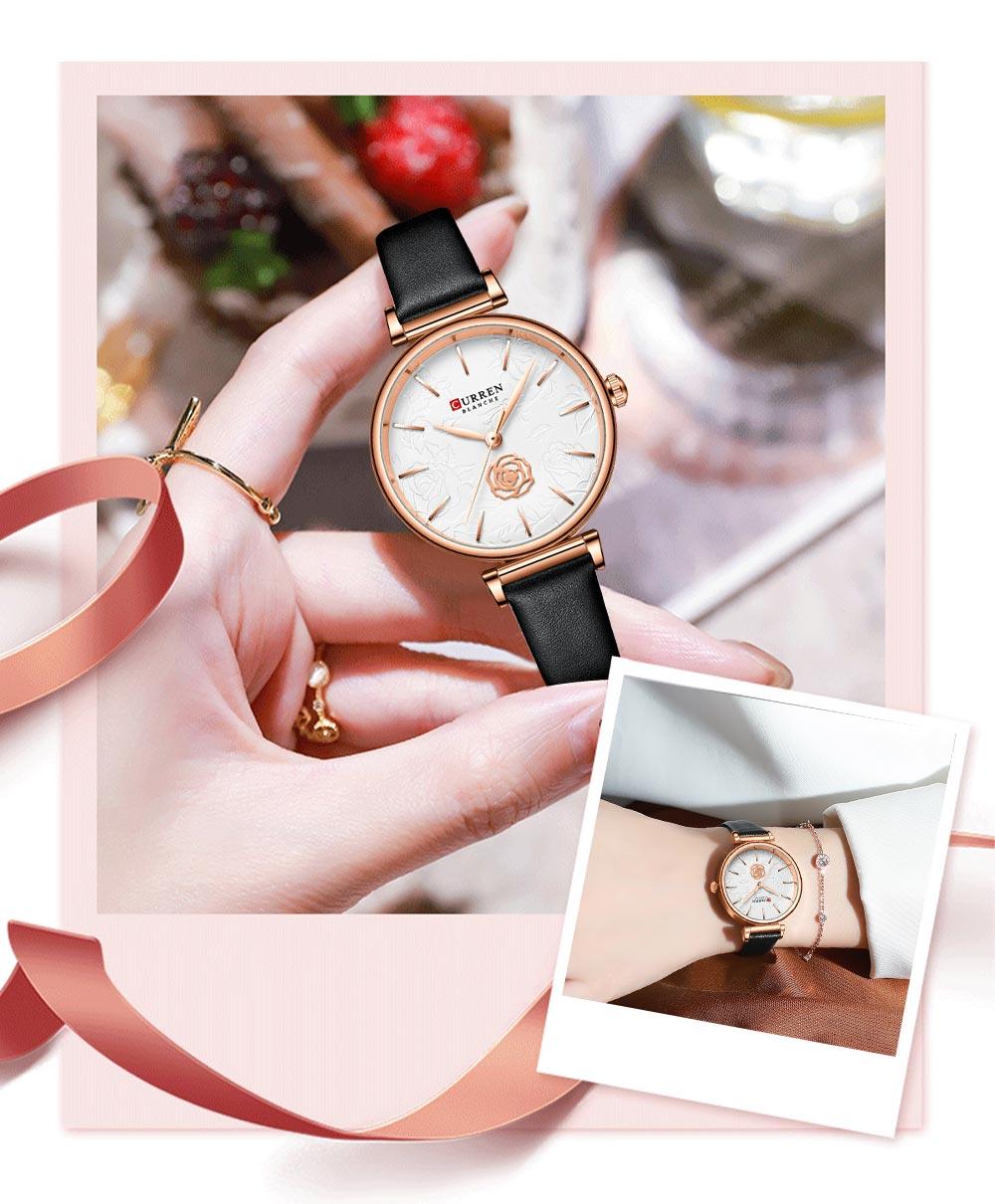 watch women 2020 latest rounded CURREN Women Watch Waterproof Top Brand Luxury Ladies Wristwatch Genuine Leather Classic girl enlarge