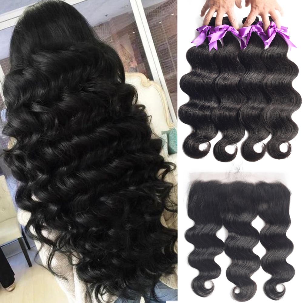Brazilian Human Hair Weave Body Wave Bundles With Frontal Human Hair 3 Bundles With 13x4 Lace Fronta