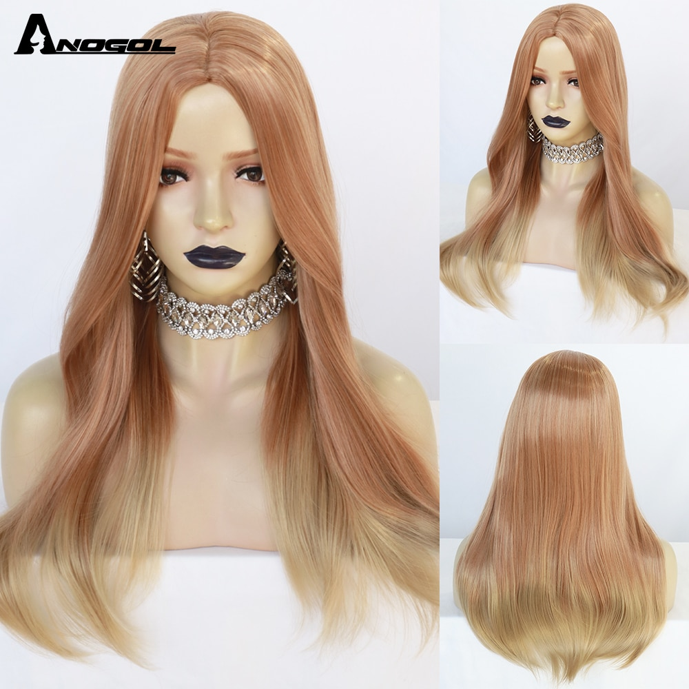 Anogol Orange Blonde Color Long Wigs for Women Wavy Ombre Cosplay Party Synthetic Heat Resistant Natural Hair Wig